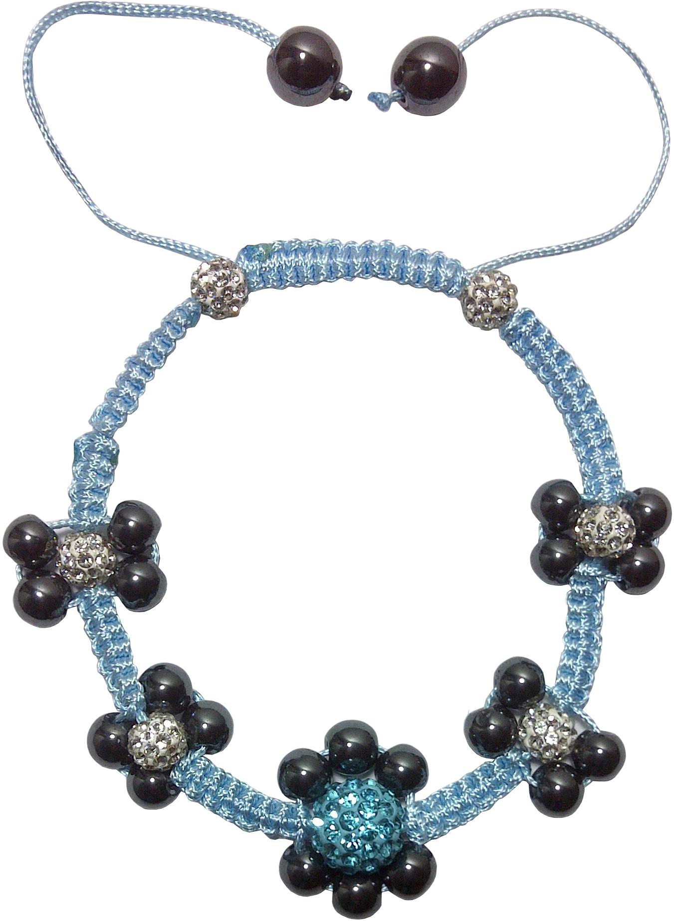 Bracelet Shamballa Fleur Zirconium Cubique Hématite