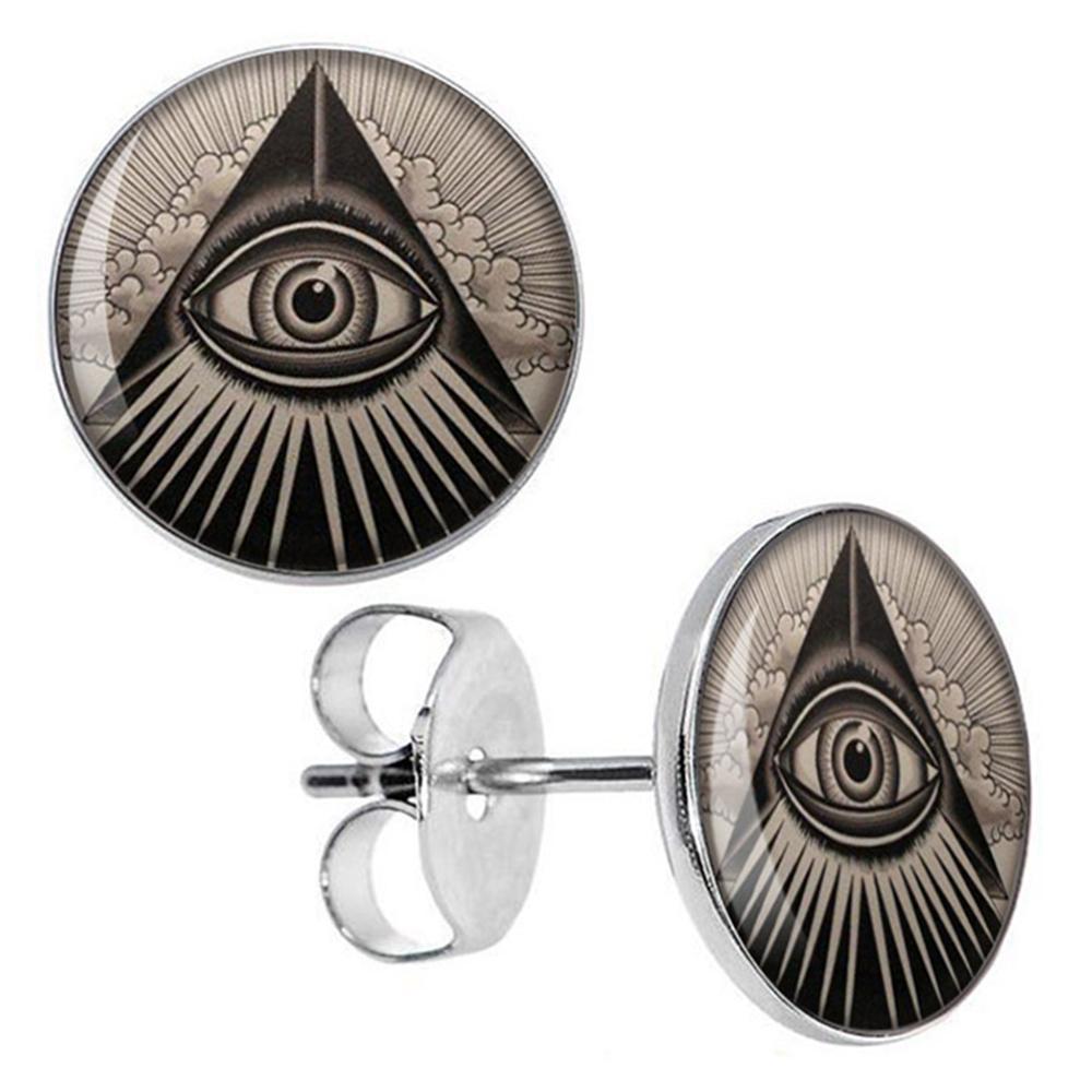 Boucle d'oreille pyramide oeil