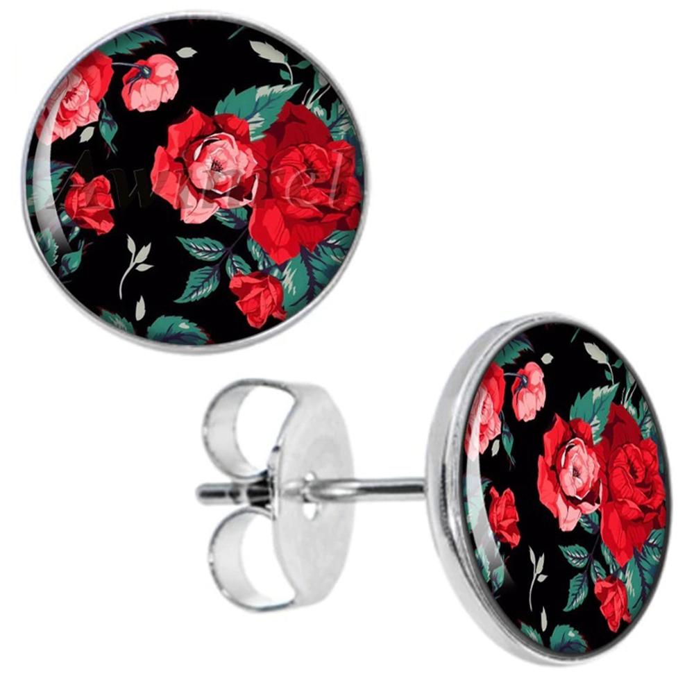 Boucles d\'Oreille Clous Puces Acier Inoxydable - Fleurs Roses Rouges