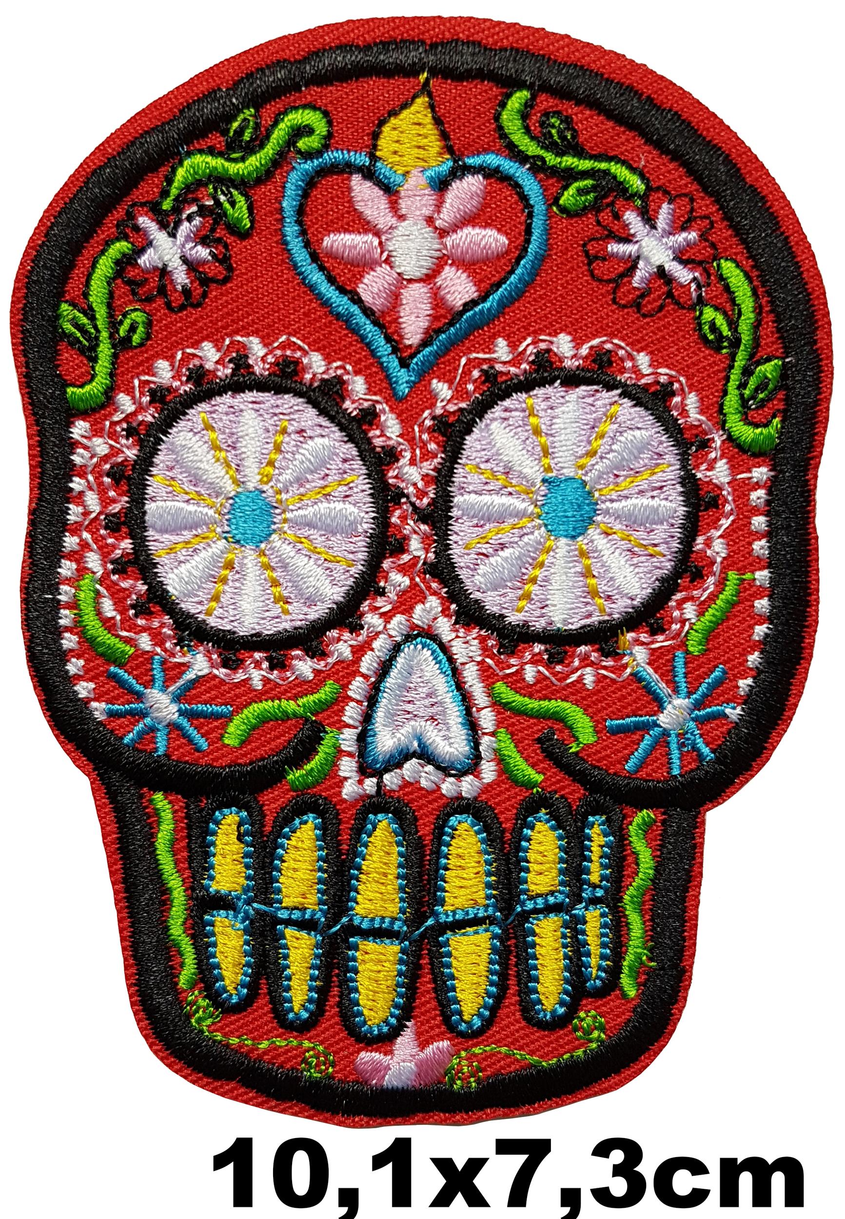 Patch thermocollant tête de mort mexicaine rouge yeux fleurs dents jaunes