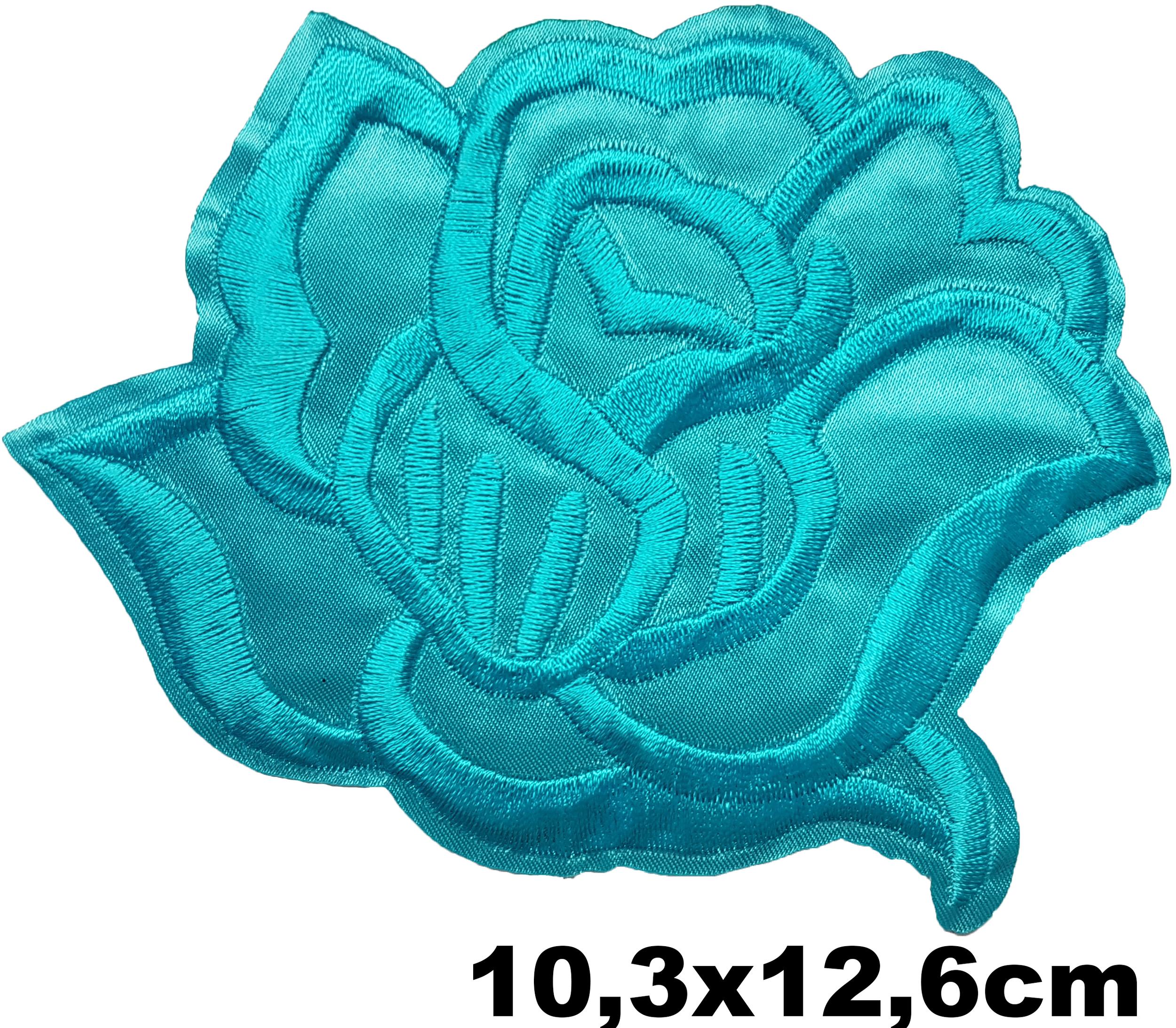 Grand Patch Thermocollant Fleur Rose Bleue Stylisée