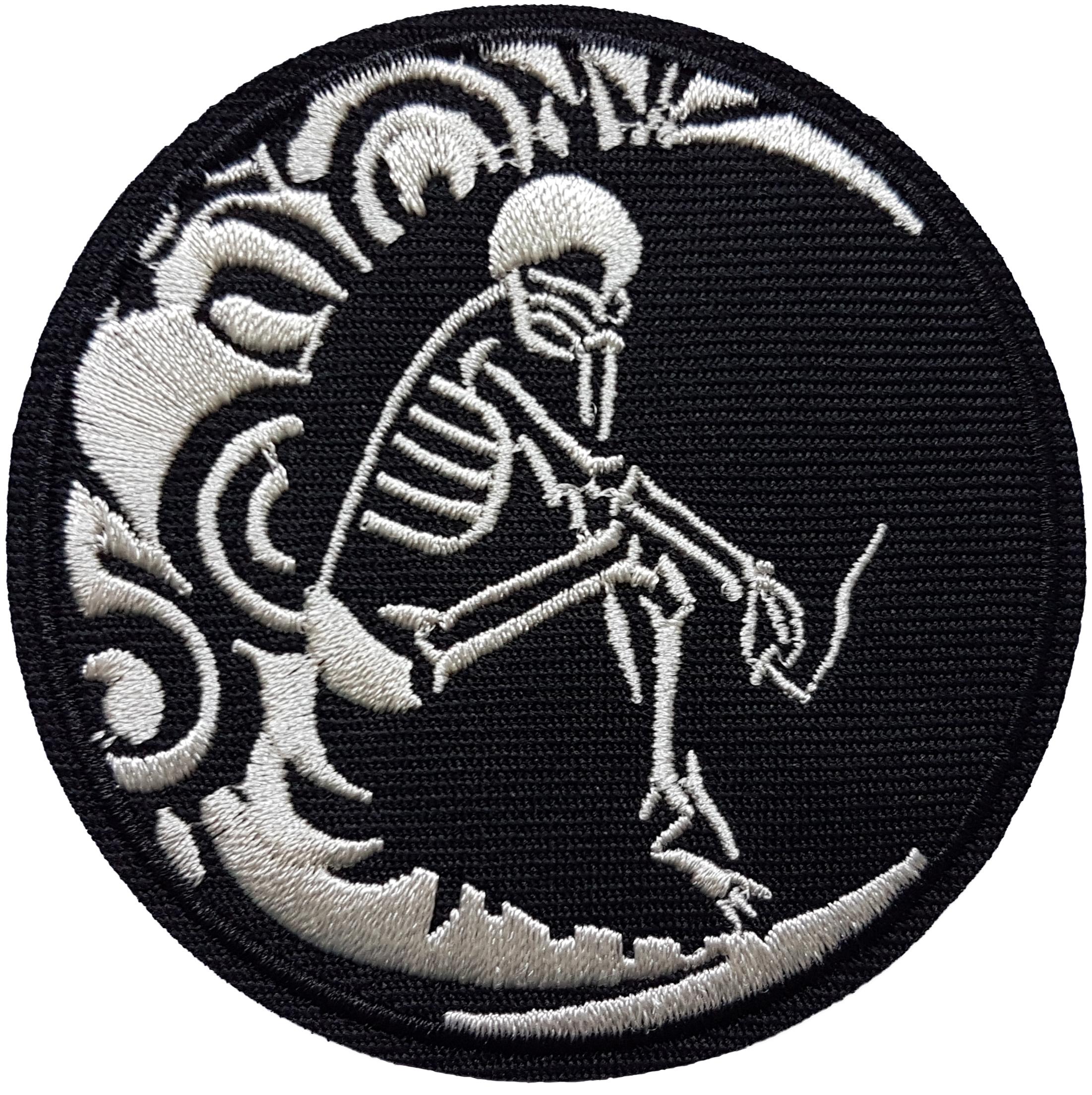 Patch squelette cigarette lune