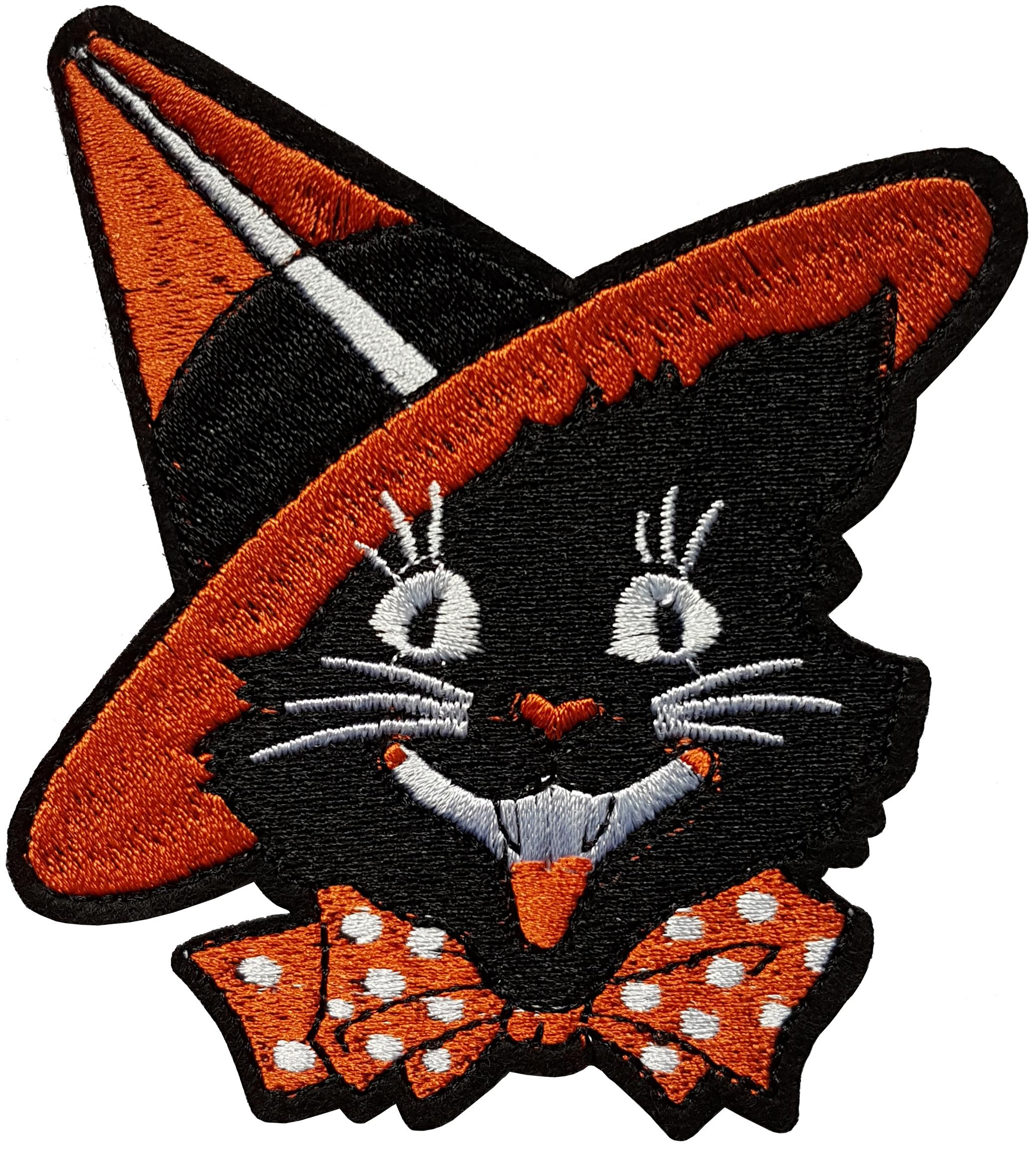 Patch Halloween chat noir chapeau de sorcière