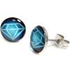 Boucles d'Oreille Clous Acier Inoxydable Diamant Bleu 1