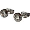 Boucles d'Oreille Clous Acier Inoxydable Cubic Zirconia Transparent 6mm