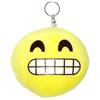 Porte clé pour sac en peluce smiley jaune mort de rire dents