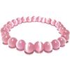 Bracelet pierre rose bande blanche 8mm