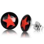 Boucles d'Oreille Clous Acier Inoxydable noir etoile rouge 1
