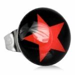 Boucles dOreille Clous Acier Inoxydable noir etoile rouge 2