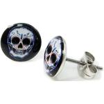 Boucles d'oreille clous acier inoxydable Tête de Mort mexicaine