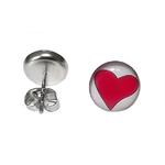 Boucles doreille clous en acier inoxydable Coeur Rouge 2