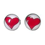 Boucles d'oreille clous en acier inoxydable Coeur Rouge