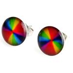 Boucle d'oreille clous acier inoxydable Multicolore art abstrait 1