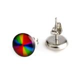 Boucle doreille clous acier inoxydable Multicolore art abstrait 2