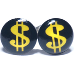 Boucles d'oreille clous en acier inoxydable Dollar Jaune 1