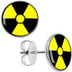 Boucles d'Oreille Clous Acier Inoxydable trèfle radioactif nucléaire 1