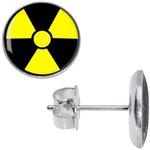 Boucles dOreille Clous Acier Inoxydable trèfle radioactif nucléaire 2