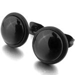 Boucles d'Oreille Clous Acier Inoxydable Noir 7 mm 1