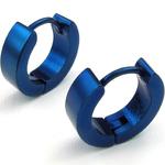 Boucles doreilles acier inoxydable anneaux créoles bleu 2