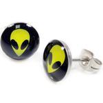 Boucle d'oreille clous acier inoxydable Alien jaune 1