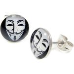 Boucle d'oreille clous acier inoxydable Masque Guy Fawkes 1