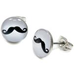 Boucles d'oreille clous acier inoxydable blanc Moustache noire 1