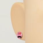 Boucles dOreille Clous Acier Inoxydable rose I Love Moustache coeurt rouge 2