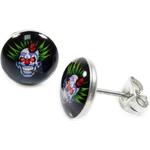 Boucles d'oreille clous acier inoxydable Clown Détraqué 1