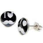 Boucles d'Oreille Clous Acier Inoxydable noir I Love Moustache Blanc 1