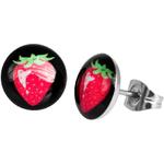 Boucles d'oreille clous acier inoxydable fraise 1