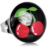 Boucles doreille clous acier inoxydable cerises rouges 2