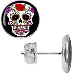 Boucles doreille clous acier inoxydable tête de mort mexicaine fleur rose rouge 2