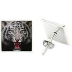 Boucles d'Oreille Clous Acier Inoxydable Tigre Enragé