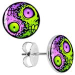 Boucle d'oreille clous acier inoxydable yin yang zombie