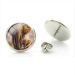 Boucles d'oreille clous acier inoxydable maman éléphant et éléphanteau