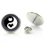 Boucles d'oreille clous acier inoxydable yin yang chat chien