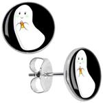 Boucles d'oreille clous acier inoxydable fantome bonbon halloween