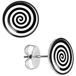 Boucle d'oreille clous acier inoxydable spirale noir et blanc