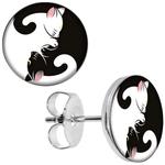 Boucles d'oreille clous acier ioxydable chat yin yang