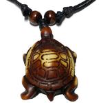 Collier pendentif tortue marron écaile espacés 2