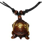 Collier pendentif tortue marron écaile espacés 1