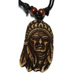 Collier extensible pendentif tête d'indien