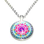Collier pendentif mandala multicolore