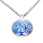 Collier pendentif métal arbre de vie bleu braches spirales