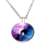 Collier pendentif métal Uranus planete anneau galaxie