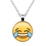 Collier pendentif métal smiley pleure de rire