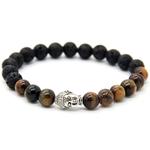 Bracelet tête de bouddha pierre de lave et pierre oeil de tigre