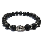 Bracelet pierre de lave tête de bouddha