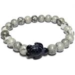 Bracelet pierre veine de dragon grise tortue noire