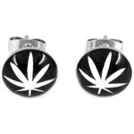 Boucles d'oreille clous acier inoxydable noir feuille de cannabis Blanc